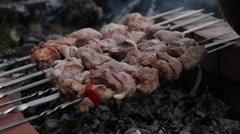 Kebab on skewers Stock Footage