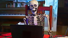 Skeleton thing on computer Stock Footage