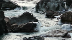 Stock Footage Icy Rocks in a Mountain River Slow Motion Stock Footage