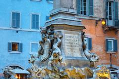 Stock Photo of Fountain in Piazza della Rotunda at night, Rome, Lazio, Italy, Europe