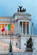 Italian flag in front of the Victor Emmanuel Monument at night, Rome, Lazio, - stock photo