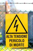 Signboard of danger high voltage in power plant Stock Photos