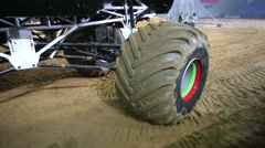 Wheels of giant offroader at the show Energy Truck Monster Mania Stock Footage