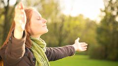 worship with open arms - stock photo