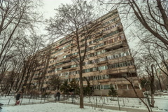 Establishing time lapse shot eastern european communist architecture building Stock Footage