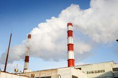 Winter view of the thermal power plant Stock Photos