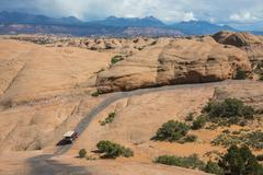 Hummer driving on the Slickrock trail, Moab, Utah, United States of America, - stock photo
