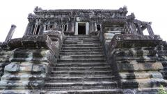 Ancient temple angkor wat tilt up Stock Footage