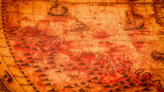Vintage ancient world map in 1565. Stock Footage