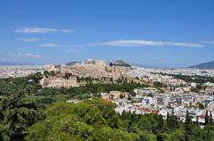 panoramic view athens greece - stock photo