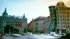 Time lapse of the dancing house in Prague. Stock Footage