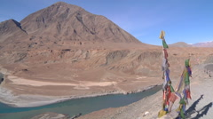 Indus river at Nimmu town in Ladakh, India (Jammu & Kashmir) Stock Footage