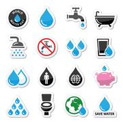 World Water Day icons - ecology, green concept Stock Illustration