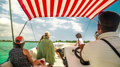 Taxi boat ride with passengers in mauritius Stock Footage