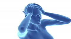 migraine head pian concept with pulsating pain - stock footage