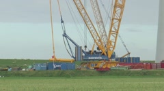 Construction of wind turbines Stock Footage