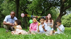 Birthday party, family eating cake in the park - stock footage