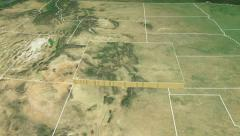 Colorado state (USA) extruded. Satellite map. - stock footage
