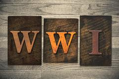 Wwi concept wooden letterpress type Stock Photos