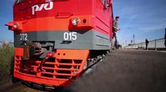 Russian Railways, Train Departs From Platform Stock Footage