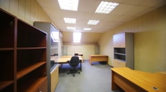 The light is switched off and then switched on in office room Stock Footage