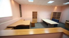 Tables and cabinets in waiting room, the view from the reception Stock Footage