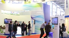 Exhibition Hall of the pavilion MosExpo during Exhibition Stock Footage