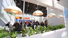 Cafe in the pavilion MosExpo In Moscow, Russia. Stock Footage