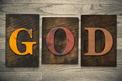god concept wooden letterpress type - stock photo