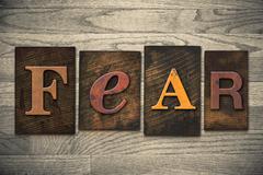 Fear concept wooden letterpress type Stock Photos