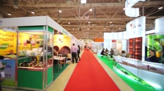 International Exhibition Ingredients Russia in pavilion MosExpo Stock Footage