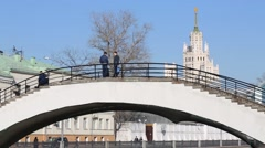 Zverev bridge over Vodootvodny Canal on background of house Stock Footage