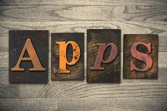 apps concept wooden letterpress type - stock photo