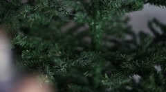 Applied to the tree with artificial snow Stock Footage