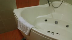Jacuzzi in the bathroom of hotel Stock Footage