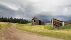 Barn countryside ranch tracking shot Stock Footage