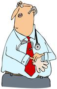 Doctor putting on gloves - stock illustration