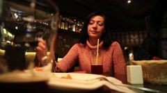 Bored Woman At The Pub - stock footage