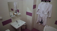Bathroom in the four star hotel Stock Footage