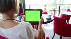 tabletcomputre green cafe - stock footage