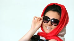 Woman posing in Sophie Loren style. Laughs. Stock Footage