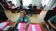 Customs officers at workplaces in office of Kiev customs house. Stock Footage
