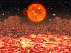 Molten planet.moon.elements of this image furnished by nasa. Stock Illustration