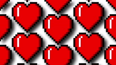Pixel heart scroll with alpha - stock footage