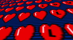 Pixel heart scroll Stock Footage
