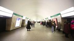 People at subway station Ploschad Aleksandra Nevskogo 1 Stock Footage