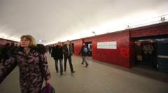 People at subway station Mayakovskaya in St. Petersburg Stock Footage