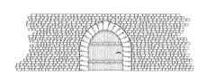 stone wall and door - stock illustration