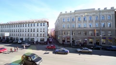 View of Sadovaya street and side street Krylov. Stock Footage
