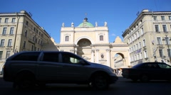 Cars traffic against Church of St. Catherine of Alexandria Stock Footage